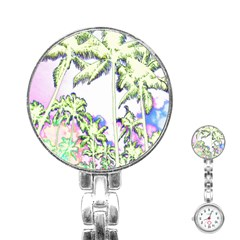 Palm Trees Tropical Beach Scenes Coastal Sketch Colored Neon Stainless Steel Nurses Watch by CrypticFragmentsColors