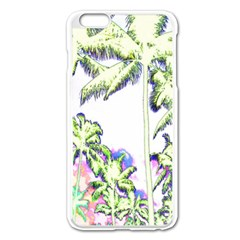 Palm Trees Tropical Beach Scenes Coastal Sketch Colored Neon Apple Iphone 6 Plus/6s Plus Enamel White Case by CrypticFragmentsColors