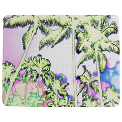 Palm Trees Tropical Beach Scenes Coastal Sketch Colored Neon Jigsaw Puzzle Photo Stand (rectangular) by CrypticFragmentsColors
