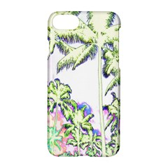 Palm Trees Tropical Beach Scenes Coastal Sketch Colored Neon Apple Iphone 7 Hardshell Case by CrypticFragmentsColors
