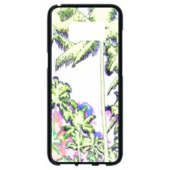 Palm Trees Tropical Beach Scenes Coastal Sketch Colored Neon Samsung Galaxy S8 Black Seamless Case by CrypticFragmentsColors