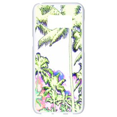 Palm Trees Tropical Beach Scenes Coastal Sketch Colored Neon Samsung Galaxy S8 White Seamless Case by CrypticFragmentsColors