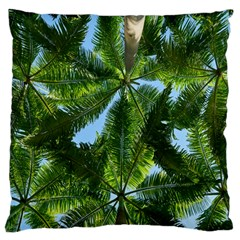 Paradise Under The Palms Large Flano Cushion Case (two Sides) by CrypticFragmentsColors
