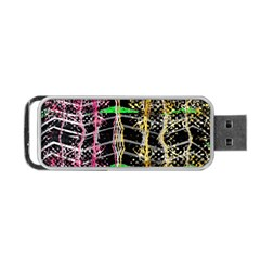 Pink Green Paint Battle And Black Lightning  Zigzag Portable Usb Flash (one Side) by flipstylezdes