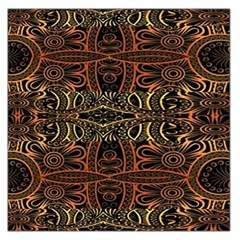 Brown And Gold Aztec Design  Large Satin Scarf (square)