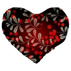 Beautiful Black And Red Florals  Large 19  Premium Flano Heart Shape Cushions by flipstylezdes