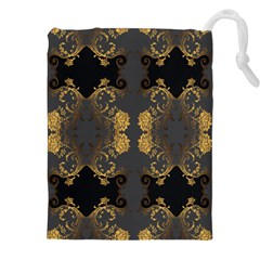 Beautiful Black And Gold Seamless Floral  Drawstring Pouches (xxl) by flipstylezdes