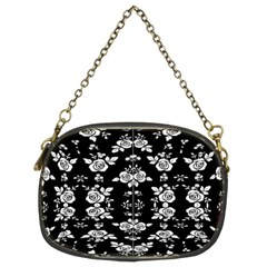 Black And White Florals Background  Chain Purses (two Sides)