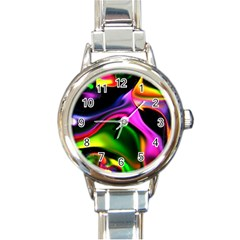 Colorful Smoke Explosion Round Italian Charm Watch by flipstylezdes