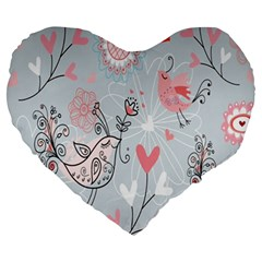 Cute Love Birds Valentines Day Theme  Large 19  Premium Heart Shape Cushions by flipstylezdes