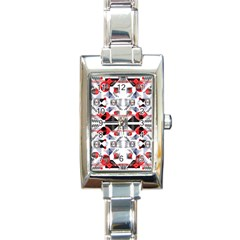 Creative Geometric Red And Black Design Rectangle Italian Charm Watch