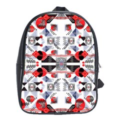 Creative Geometric Red And Black Design School Bag (large) by flipstylezdes