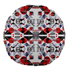 Creative Geometric Red And Black Design Large 18  Premium Flano Round Cushions