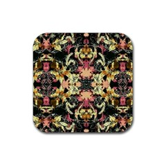 Beautiful Seamless Brown Tropical Flower Design  Rubber Square Coaster (4 Pack)  by flipstylezdes