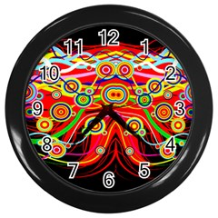 Colorful Artistic Retro Stringy Colorful Design Wall Clocks (black)