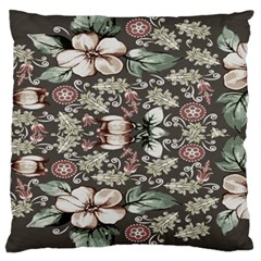 Seamless Pink Green And White Florals Peach Large Cushion Case (two Sides)