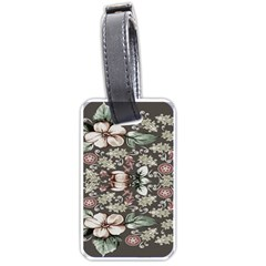 Seamless Pink Green And White Florals Peach Luggage Tags (two Sides) by flipstylezdes