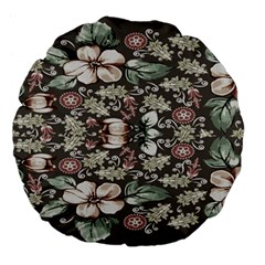 Seamless Pink Green And White Florals Peach Large 18  Premium Flano Round Cushions