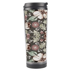 Seamless Pink Green And White Florals Peach Travel Tumbler