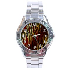 Snake In The Grass Red And Black Seamless Design Stainless Steel Analogue Watch by flipstylezdes
