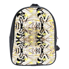 Retro Seamless Black And Gold Design School Bag (xl) by flipstylezdes