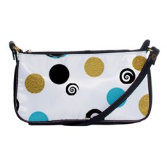 Fun Retro Blue Gold Circles  Shoulder Clutch Bags by flipstylezdes