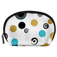Fun Retro Blue Gold Circles  Accessory Pouches (large)
