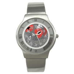 Red Poppy Flowers On Gray Background  Stainless Steel Watch by flipstylezdes