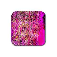Hot Pink Mess Snakeskin Inspired  Rubber Square Coaster (4 Pack)  by flipstylezdes