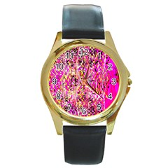 Hot Pink Mess Snakeskin Inspired  Round Gold Metal Watch