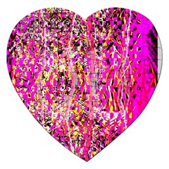 Hot Pink Mess Snakeskin Inspired  Jigsaw Puzzle (heart) by flipstylezdes