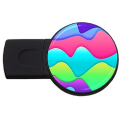 Lines Curves Colors Geometric Lines Usb Flash Drive Round (2 Gb) by Nexatart
