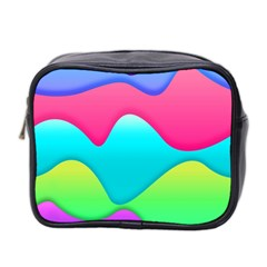 Lines Curves Colors Geometric Lines Mini Toiletries Bag 2 Side by Nexatart