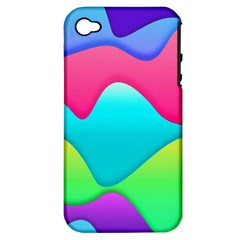 Lines Curves Colors Geometric Lines Apple Iphone 4/4s Hardshell Case (pc+silicone)
