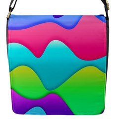 Lines Curves Colors Geometric Lines Flap Messenger Bag (s) by Nexatart