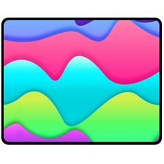 Lines Curves Colors Geometric Lines Double Sided Fleece Blanket (medium)