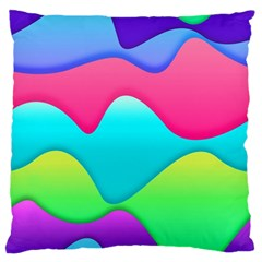 Lines Curves Colors Geometric Lines Large Flano Cushion Case (one Side)