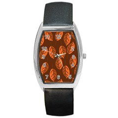 Pattern Leaf Plant Decoration Barrel Style Metal Watch by Nexatart