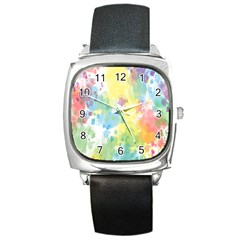 Abstract Pattern Color Art Texture Square Metal Watch