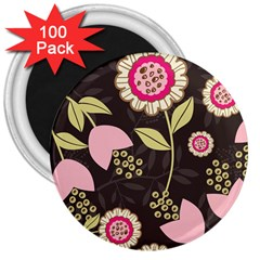 Flowers Wallpaper Floral Decoration 3  Magnets (100 Pack) by Nexatart