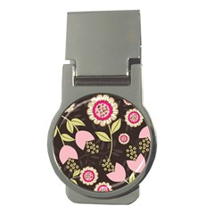 Flowers Wallpaper Floral Decoration Money Clips (round)  by Nexatart