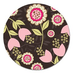 Flowers Wallpaper Floral Decoration Magnet 5  (round)