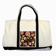 Flowers Wallpaper Floral Decoration Two Tone Tote Bag