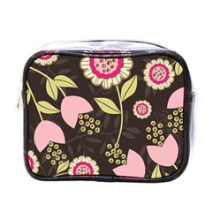 Flowers Wallpaper Floral Decoration Mini Toiletries Bags by Nexatart