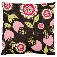 Flowers Wallpaper Floral Decoration Large Cushion Case (one Side) by Nexatart