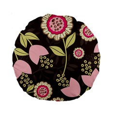 Flowers Wallpaper Floral Decoration Standard 15  Premium Round Cushions by Nexatart