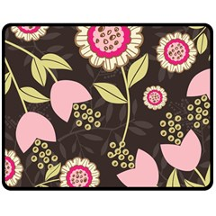 Flowers Wallpaper Floral Decoration Double Sided Fleece Blanket (medium)