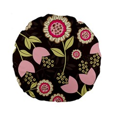 Flowers Wallpaper Floral Decoration Standard 15  Premium Flano Round Cushions