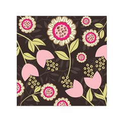 Flowers Wallpaper Floral Decoration Small Satin Scarf (square)