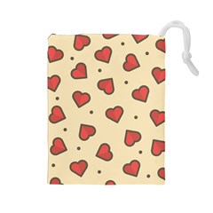 Design Love Heart Seamless Pattern Drawstring Pouches (large)  by Nexatart